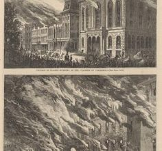 Chicago in Flames--Burning of the Chamber of Commerce and the Crosby Opera House; from Harper's Weekly, October 28, 1871 (ichi-63127)    Driven by a fierce wind from the southwest, flames shoot out of the Chamber of Commerce and Crosby's Opera House as Chicagoans flee for their lives.