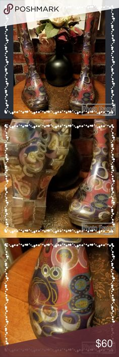 Coach, Poppy Rain boots Discontinued coach poppy rain boots. Beautiful colors and design. Nearly perfect condition! Coach Shoes Winter & Rain Boots