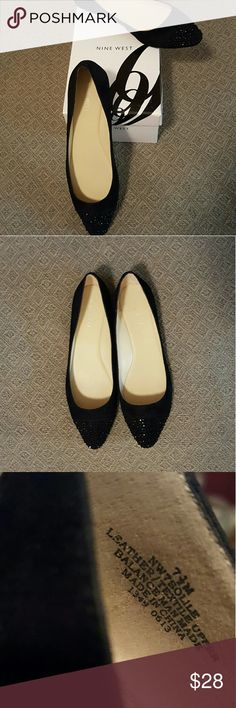 Nine West Black Flats Black suede with black rhinestone cap-toe, size 7 1/2 M, only worn once, excellent shape Nine West Shoes Flats & Loafers