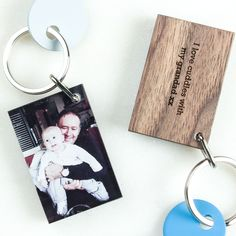 Personalised Acrylic Wood Photo Keyring Grandad. This stunning wood and acrylic photograph keyring is the perfect gift for grandad. Surprise him with his favourite photo which can then be carried around everywhere he goes!The combination of acrylic and wood is very distinctive and will last a lifetime.