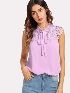 Stagioni Fashion for Women, Blouses for Women. Item: Guipure Lace Applique Tied Neck Top for Women Bow Blouse, Sleeveless Blouse, Bow Tops, 2020 Fashion Trends, Purple Fashion, Lace Applique, White Women, Blouses For Women, Shirts