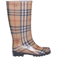 Burberry Checked Rubber Rain Boots (€105) ❤ liked on Polyvore featuring shoes, boots, round cap, wellies rubber boots, rain boots, wellington rubber boots and burberry shoes