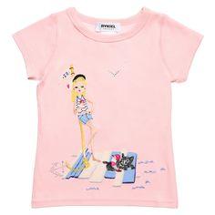 "Pink Cotton ""Girl On A Beach"" Motif T-Shirt, Sonia Rykiel Enfant, Girl"