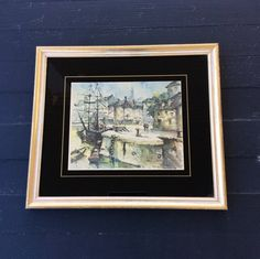 SALE....Vintage Gold Gilt Framed Clipper Ship / Harbor Picture, Coastal, Nautical, Hollywood Regency, Mad Men, French/Italian Decor