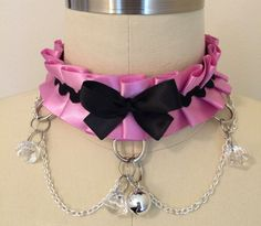 Pink and Black BDSM Kitten Play Collar -  Submissive Slave Maid KittenPlay PetPlay Pet Play Cosplay Neko by TheFlirtyKitten on Etsy