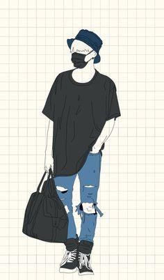 BTS // Min Yoongi // 민윤기 // Suga // 슈가 // Agust D Bangtan V, Bts Suga, Agust D, Bts Drawings, Kpop Fanart, Boy Art, Airport Style, Bts Wallpaper, Cartoon Art