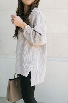Oatmeal sweater with faux leather leggings