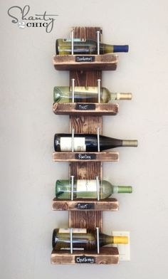 With just a few supplies from the hardware store, create a rustic $15 DIY wine rack. **This would work just as well for storage and display of special bombers in the cellar!
