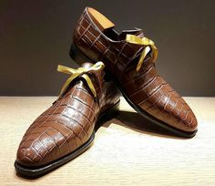 Maison Corthay / Dark Brown alligator with gold satin laces.