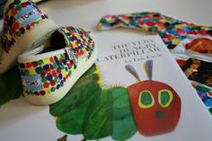 Painted Toms to look like The Very Hungry Caterpillar!