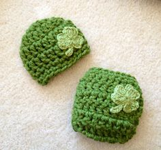 St. Patrick's day crochet beanie and diaper cover set