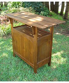 Outdoor Wooden Bar Table 249. overstock for man cave.. winter then outside for BBQ!!!