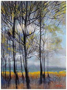 winter trees by Thomas W Schaller Watercolor ~ 24 inches x 18 inches