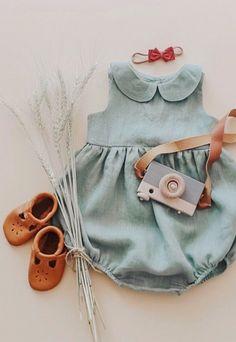 5b1d3fbb117 Beautiful Handmade Green Linen Baby Romper