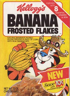 A Tribute to Discontinued Cereals. So when you're on vacations it's fun to eat cereal all the time. Check out these strange cereals. Banana Frosting, Sugar Frosting, Retro Ads, Vintage Ads, Vintage Food, Vintage Signs, Vintage Advertisements, Retro Recipes, Vintage Recipes