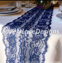 5ft marine mariages /Navy dentelle Table par LovelyLaceDesigns
