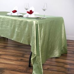 Check out efavormart's exclusive selection of Taffeta Crinkle Table and Chair Decorations. Glam up your wedding ambiance with our Taffeta Crinkle Tablecloths, Table Covers, Table Runners, Chair Sashes, Chair Covers and more.