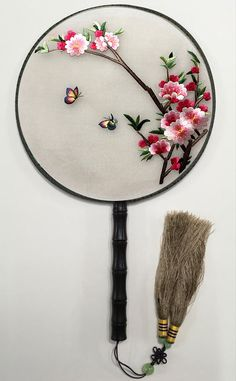 Japanese Embroidery Flowers Lifelike Exquisite Suzhou Embroidery Gorgeous Pink Flower Butterfly Handmade Needlework Handiwork Double Side Silk Hand Fan Collectible Artwork Consummate CraftsmanshipChinese Suxiu Birthday Gift for friends Parents - Chinese Embroidery, Tambour Embroidery, Hardanger Embroidery, Types Of Embroidery, Silk Ribbon Embroidery, Hand Embroidery Patterns, Embroidery Art, Embroidery Stitches, Embroidery Supplies