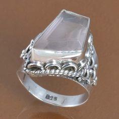 925 SOLID STERLING SILVER HOT ROSE QUARTZ RING 6.59g DJR9381 SZ-7.5 #Handmade #Ring