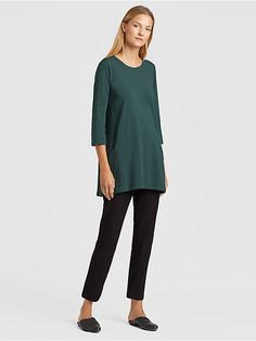 c87ec0827c PINE Funnel Neck, Eileen Fisher, Clothes Line, Side Panels, Sleeves, Fabric