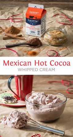 Mexican Hot Cocoa Whipped Cream - Easy whipped cream with things you have in your pantry! This is a MUST TRY on hot cocoa! This will be on your list to make every year. Definitely use when company is coming.