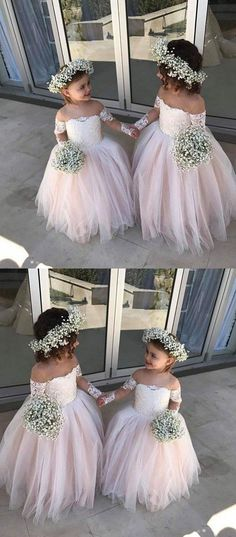 Outlet Admirable Flower Girl Dresses With Sleeves, Bridesmaid Dress Pink Flower Girl Dresses Pink Bridesmaid Dress Long Sleeves Flower Girl Dresses Bridesmaid Dresses 2018 Toddler Flower Girl Dresses, Tulle Flower Girl, Girls Dresses, Wedding Flower Girls, Flower Dresses, Flower Girl Bouquet, Flower Crowns, Dresses Dresses, Fashion Dresses
