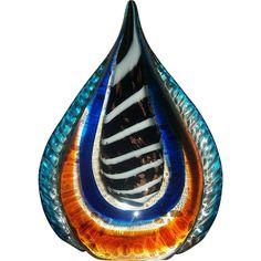 """Rare Vintage Murano Glass Tear Drop Sculpture Figurine 9"""" Ht."""