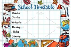 Back to School sketch vector timetable schedule Graphics School timetable template or lesson schedule on checkered page background. Vector design of school b by Vector Tradition SM Birthday Bulletin Boards, Classroom Birthday, Table Sketch, Timetable Template, School Timetable, Schedule Design, 1st Grade Worksheets, School Schedule, Stationery Pens