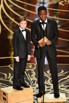 Jacob Tremblay and Abraham Attah speak onstage during the 88th Annual Academy Awards at the Dolby Theatre on February 28, 2016 in Hollywood, California. #oscars