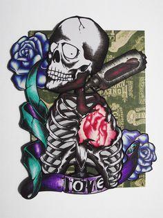 """""""Love"""" est un cadre de 13*18 cm composé par collage. Avec un style rockabilly ce dessin aux allures de tatouage, est un exemple original et unique du talent de Misanthrope & Ass. A grand coup de violence et de destruction, """"Love"""" est une réflexion sur la post-apocalyptique rupture."""