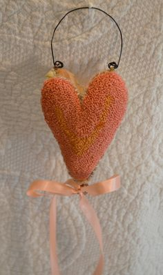 Primitive Punch Needle Heart Ornament small Coral by Gollywobbles, $5.00