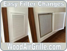 Wood Return Air Filter Grilles from WoodAirGrille.com make changing filters as easy as opening a door.