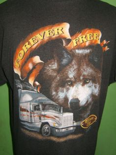 """Vintage Black T Shirt """"Wolf Forever Free"""" Truckers Only From 90's $49.99"""