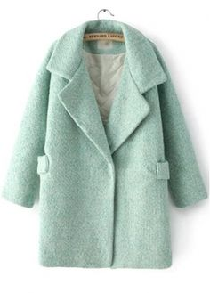 Long Sleeve Snap Button Design Green Coat