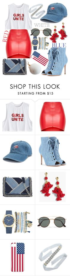 """""""Red, White, and Blue"""" by childishlambino ❤ liked on Polyvore featuring Gianvito Rossi, ALDO, J.Crew, Mixit, Ray-Ban and BaubleBar"""