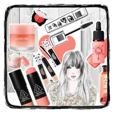 """""""Cute coral panda"""" by beanpod ❤ liked on Polyvore featuring beauty, GE, 3 Concept Eyes, peripera, Innisfree, TONYMOLY and Skinfood"""