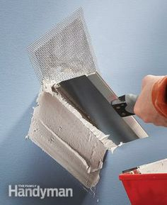 Hole patches fix wall holes and cracks fast  Available up to 8 in. square, these stiff metal patches eliminate the time-consuming process of squaring a hole, putting in wood backer boards, and buying, cutting and taping the drywall. They're a great fast fix for holes and big cracks in walls before painting.