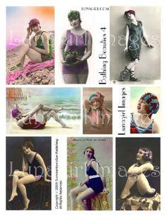 BATHING BEAUTIES 4 collage sheet DOWNLOAD vintage photos flappers women images seashore bathing suits ladies altered art ephemera postcards via LUNAGIRL on Etsy  $3.95