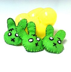 SALE Felt Zombie Bunnies Rabbits for Easter Eggs Set $6.00