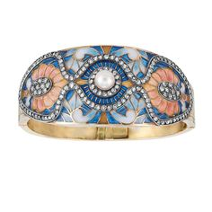 Gold, Silver, Plique-a-Jour Enamel, Diamond and Pearl Bangle Bracelet  One pearl ap. 7.0 mm., ap. 19 dwt. Inner cir. 6 1/2 inches. [I would say this is art nouveau style, but I question the wisdom of using plaque-a-jour on a bracelet like this]
