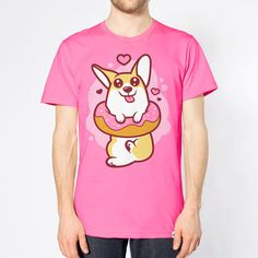 Donut Corgi Unisex T-shirt in Fuchsia.