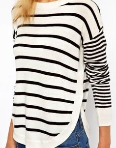 ASOS | ASOS Sweater In Stripe With Button Side at ASOS