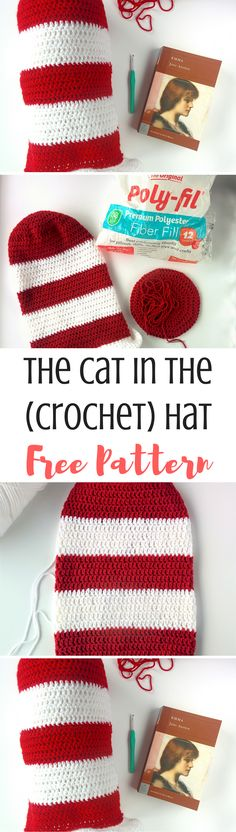 In honor of Dr. Seuss's birthday, dress up as the cat in the hat with this crochet hat pattern! Perfect for beginners and fun for everyone :)