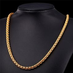Basic Essential Gold Plated Wheat Spiga Chain for Pendant Gold Necklace For Men, Mens Gold Bracelets, Mens Gold Jewelry, Long Chain Necklace, Chain Jewelry, Chain Necklaces, Skull Jewelry, Men Necklace, Copper Jewelry