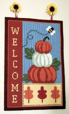 PATTERN: Fall Welcome Wall Hanging in Plastic by littlesapphire