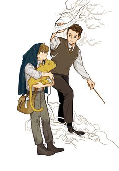 """""""Theseus/Newt 🍂there you are"""" Fanart Harry Potter, Mundo Harry Potter, Harry Potter Fandom, Harry Potter World, Harry Potter Memes, Fantastic Beasts Fanart, Fantastic Beasts And Where, Hogwarts, Harry Porter"""