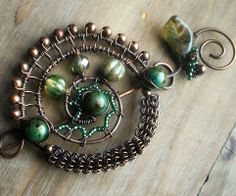 Copper Shawl Pin- Wire Wrapped Copper Brooch Scarf Pin. $54.00, via Etsy.
