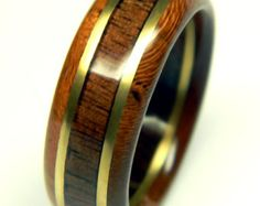 Handsome Walnut and Cherry Wood Wedding Band by SaxonWoodJewels