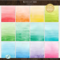 A set of (12) individually hand-painted watercolor 3x4 journalers in lovely ombre shades ideal for digital and hybrid scrapbooking and projects