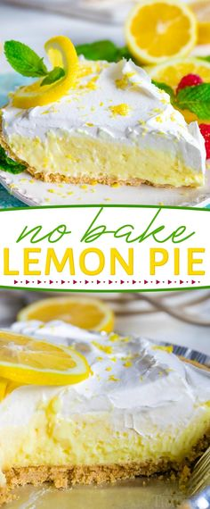 This easy No Bake Lemon Pie is perfect for hot summer days! Loaded with tart lemon flavor, the creamy lemon filling goes perfectly with the graham cracker crust and fresh whipped cream topping. // Mom On Timeout pies No Bake Lemon Pie Lemon Pie Facil, No Bake Lemon Pie, Easy Lemon Pie, Lemon Filling, Lemon Pie Recipes, No Bake Lemon Cheesecake, The Best Lemon Pie Recipe, Sugar Free Lemon Pie Recipe, Lemon Pie Fillings